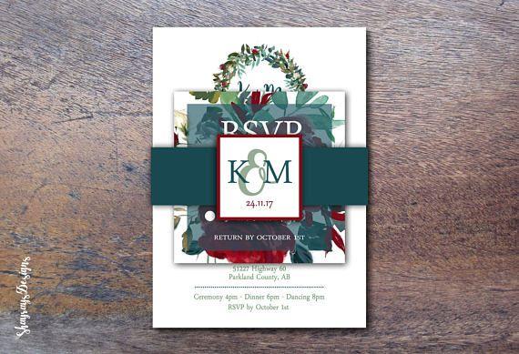 Burgundy Wedding Invitation Kit // Navy & Burgundy Floral Wedding Printable Invitation / Watercolor Vintage Wedding // Winter Wedding Invite