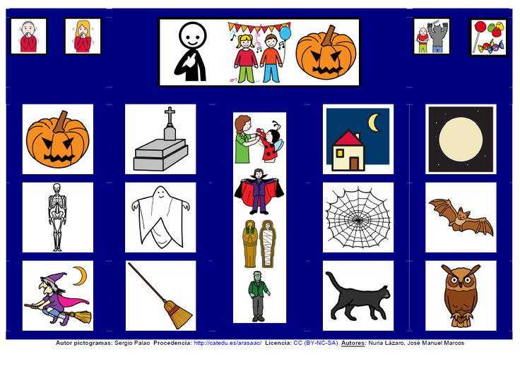 MATERIALES - Tablero de comunicación de 12 casillas: Halloween.  Tableros de comunicación de doce casillas, organizados por necesidades básicas y centros de interés.   http://arasaac.org/materiales.php?id_material=224
