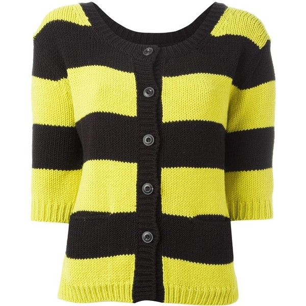 Twin-Set Striped Cardigan ($131) ❤ liked on Polyvore featuring tops, cardigans, cardigan top, neon yellow top, twin set cardigan, yellow striped top and neon yellow cardigan