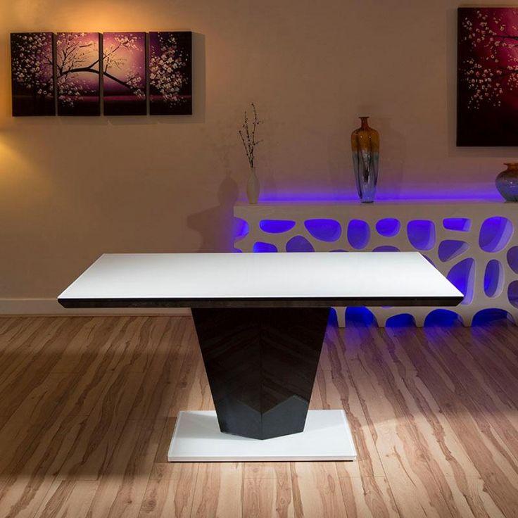 Modern Dining Table White Glass Top/black Gloss Stem 1600 X 900mm 2511. High