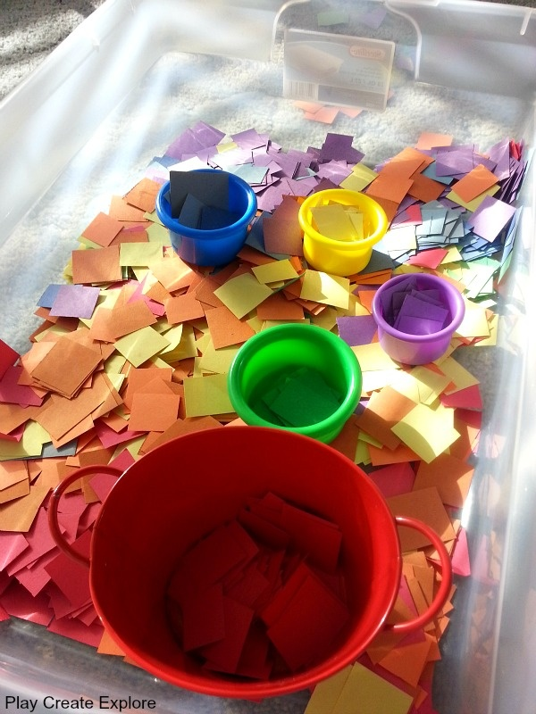 Play Create Explore: Construction Paper Squares Rainbow Sensory Bin