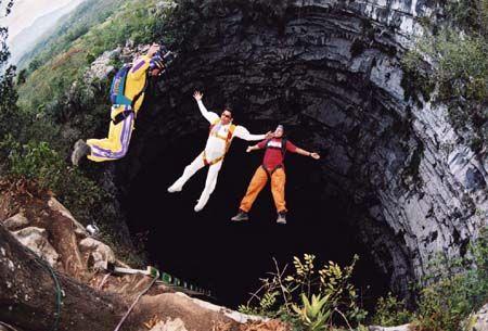 BASE jumping the Cave of Swallows (Aquismón, San Luis Potosí, Mexico)