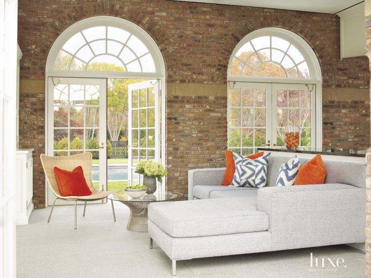 Contemporary Neutral Living Room With Brick Feature Wall