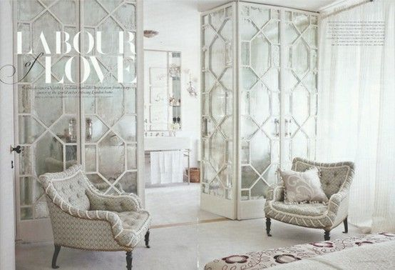 Antique Mirrors with Overlays to divide a space in a room. It can be converted to a closet or just a wall division.
