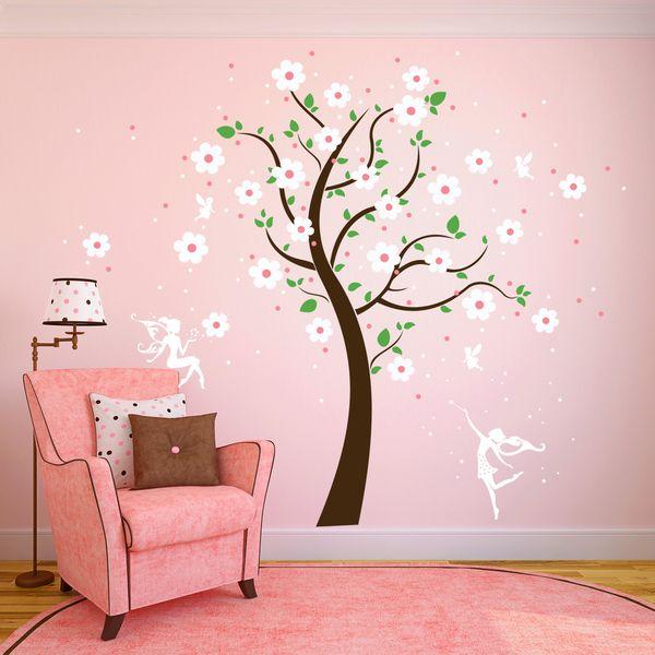 High Quality Wandtattoo Baum M. Elfen Feen Blumen Sterne M1164