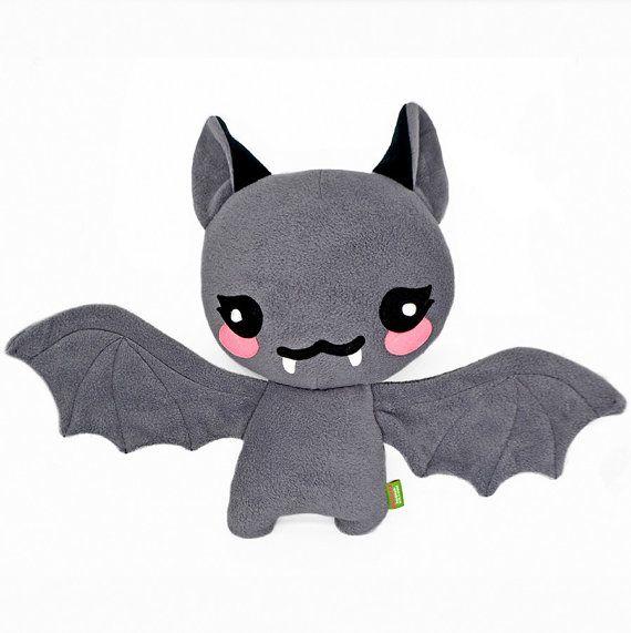 Bat plushie kawaii soft toy pillow cushion handmade by Plusheez