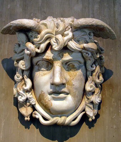 Mask of the Gorgon Medusa, dating from c. 130 AD and found in the Forum Romanum in Rome, Romisch-Germanisches Museum, Cologne