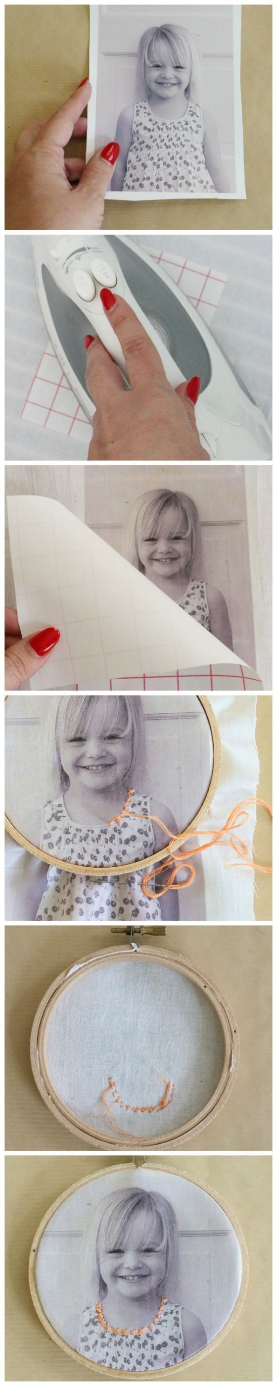 This easy embroidered photo is a perfect Christmas gift for Grandma or Grandpa! Click through for excellent directions.