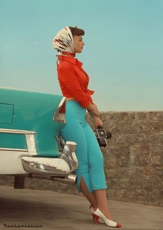 Love those high waisted pants and the head scarf.
