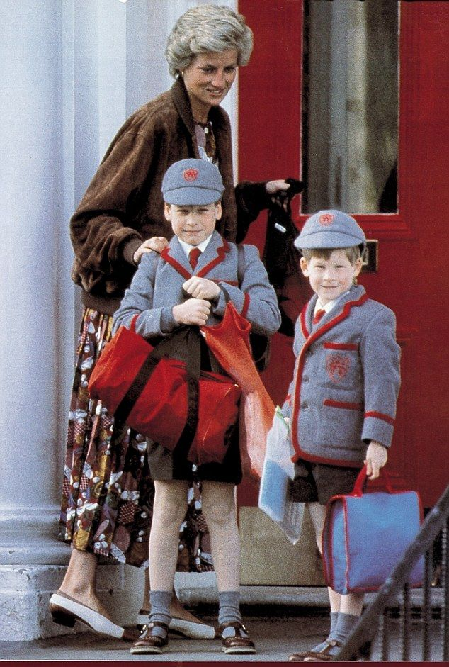 Diana taking Princes William and Harry (right) to Wetherby School in Notting Hill Gate for the first day of term in 1990. She died when Harry was just 12 years old