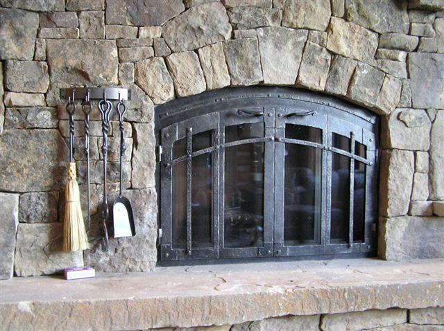 Rustic Fireplace And Custom Iron Fireplace Door Ironhaus
