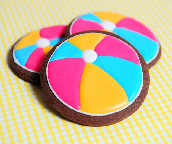 Beach Ball Sugar Cookies by guiltyconfections on Etsy, $21.00
