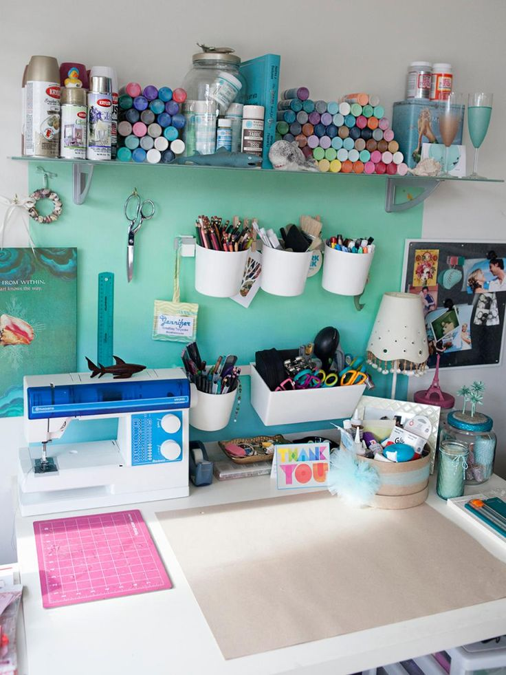 love the spray paint storage! Our favorite writers, content contributors and bloggers give us a tour of their home offices, studios and creative spaces.
