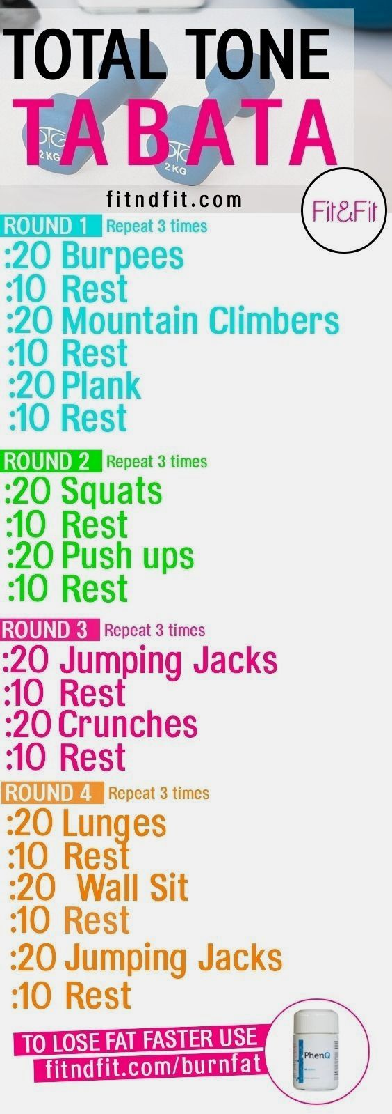 Total Tone TABATA! #fitness #bodybuilding #gym #workout #loseweightfast – Workouts