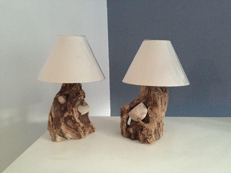 lampes de chevet pierres incrust es d co bois flott. Black Bedroom Furniture Sets. Home Design Ideas
