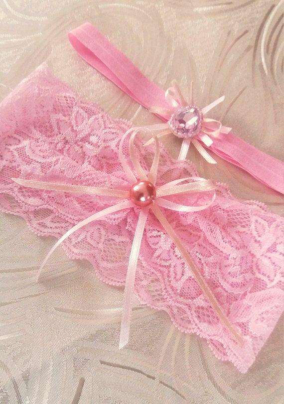 Light pink wedding garter set Blush wedding garter set Ribbon
