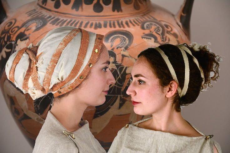 Janet Stephens' tutorial for recreating 2 ancient Greek hairstyles using period…