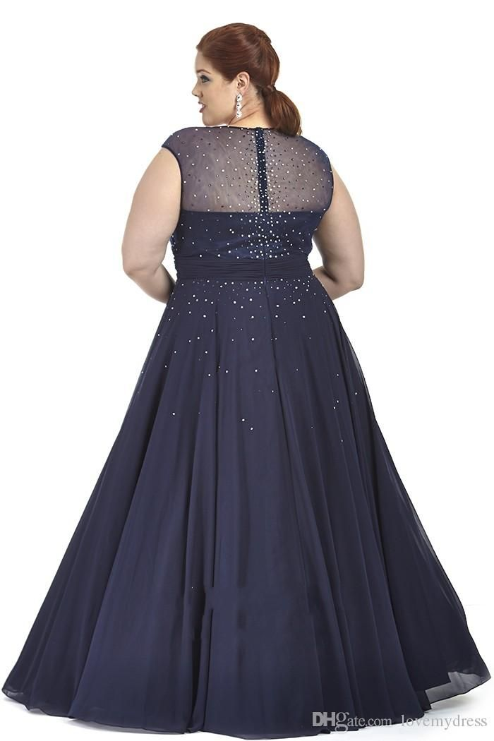2019 Navy Blue Red Chiffon Plus Size Prom Dresses Plus Special ...
