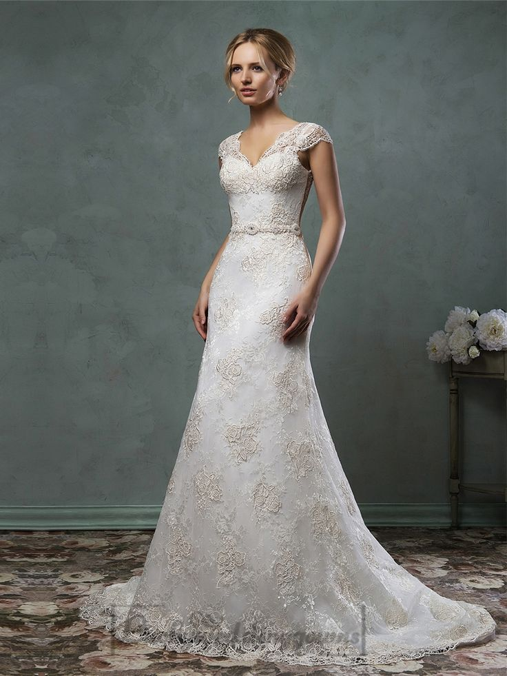 Cap Sleelves V Neckline Lace Embroidery A-line Wedding Dress