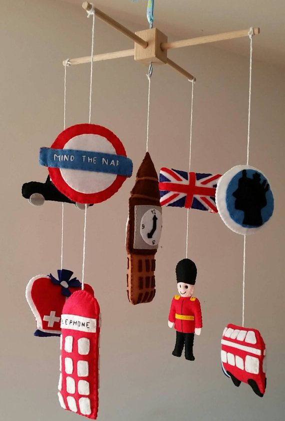 Baby cot mobile London Baby cot/ crib mobile by BernieCreations
