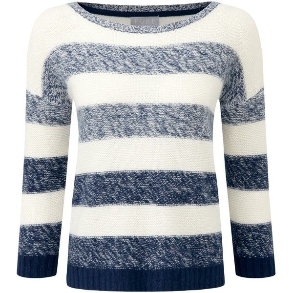 Pure Collection Striped Cashmere Sweater, French Navy/Soft White (1.530 DKK) ❤ liked on Polyvore featuring tops, sweaters, white sweater, cashmere boatneck sweater, striped sweater, 3/4 sleeve sweaters and nautical sweater