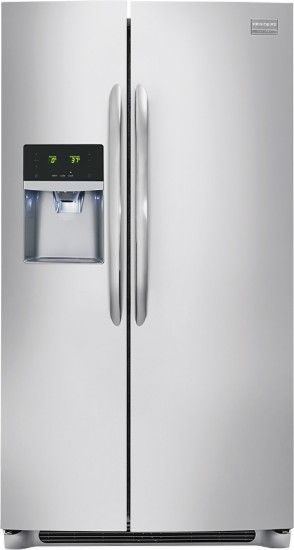 Frigidaire - Gallery 22.6 Cu. Ft. Counter-Depth Side-by-Side Refrigerator with Thru-the-Door Ice and Water - Stainless Steel - Front Zoom