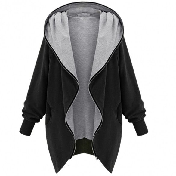 Long Batwing Sleeve Solid Plus Size Hooded Jacket