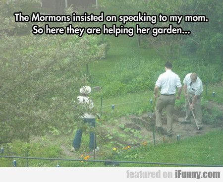 """""""The mormons"""" are missionaries that serve, and if they felt they needed to help, they would help. It's not some joke, please stop making fun of my religion"""