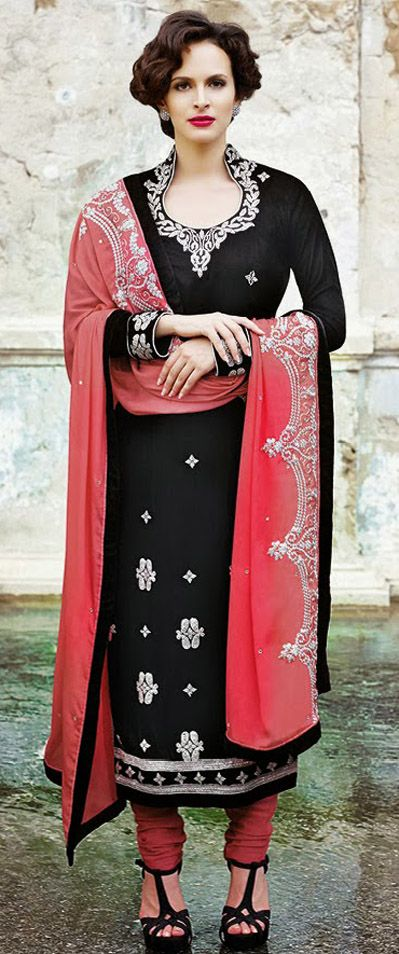 USD 131 Black Velvet Embroidered Salwar Suit 28425
