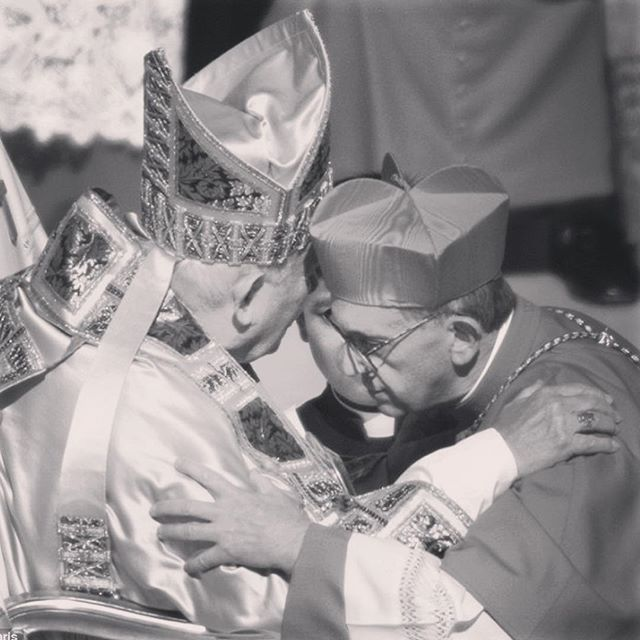 Throwback Thursday: Catholic edition. St. John Paul II greeting Cardinal Jorge Bergoglio who later became Pope Francis.