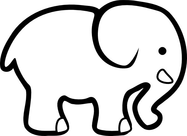 Print and cut out images from coloring pages to create your own custom art. This elephant can easily be cut out and and placed on colored paper or fabric or could be used as a stencil/template.