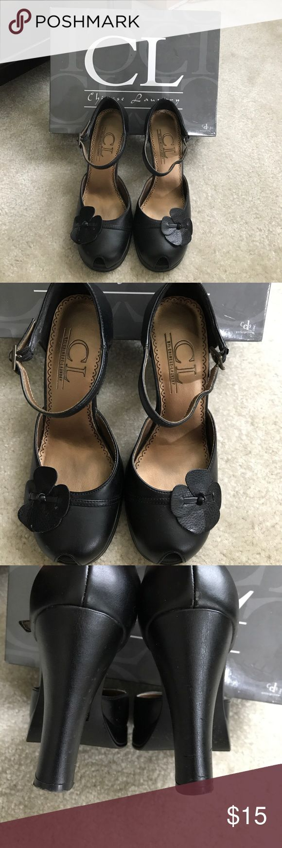 Black peep toe heels Chinese Laundry black peep toe heels with flower accent and ankle strap Chinese Laundry Shoes Heels