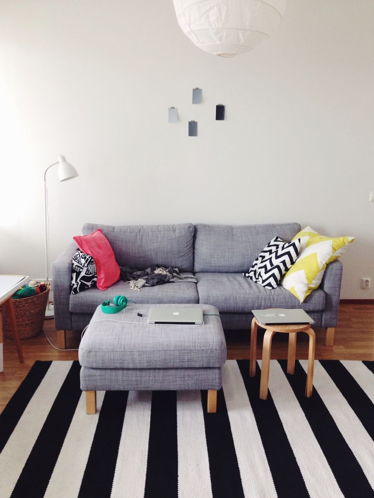 New place for sofa. We are planning to paint that wall behind the sofa.