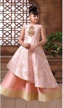 Cream Pink Color with Multy Tafeta Silk Fabric,  Exclusive Designer Kids Gowns | FHK13525681