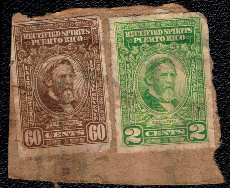 Jan 1 1942 Puerto Rico Rectified Spirits G.S. Boutwell pair on paper…