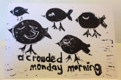Image of A Crowded Monday Morning - Lino Print (Limited Edition) Josieandbella Designs 2014.