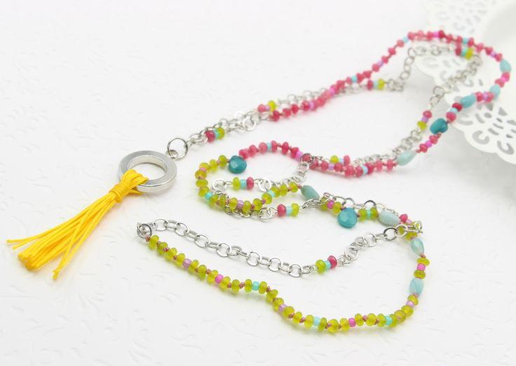 Tassel Long necklace with tassel Dlugi naszyjnik z chwostem Jade/jadeit