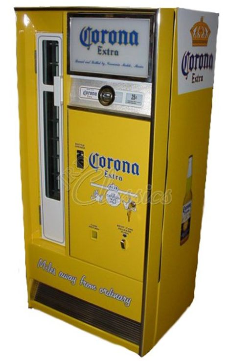 Corona Beer Vending Machine. I would like this on my patio. I could change the Coke machine I have now back to coca cola instead of filling it with beer.