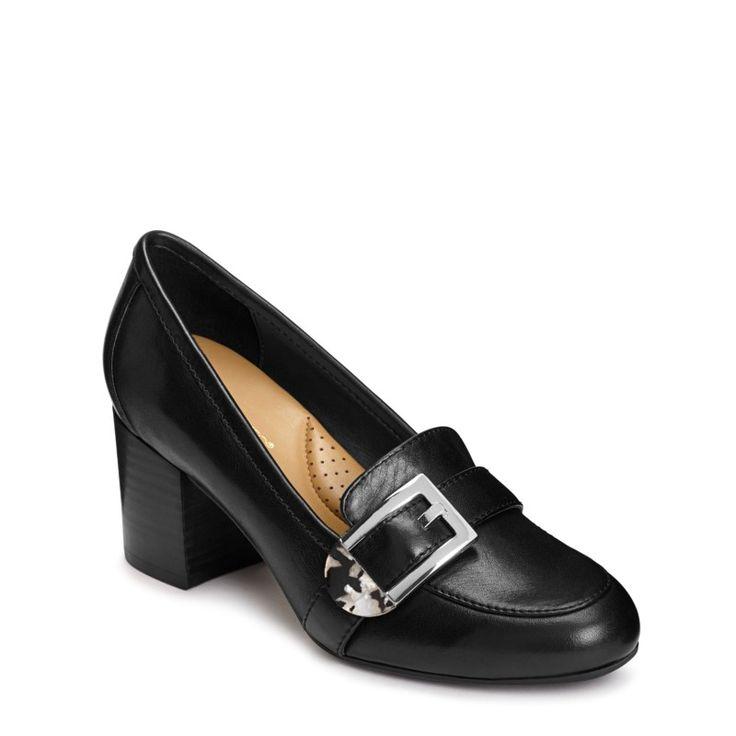 Aerosoles Women's Pattern Work Pump Shoes (Black Leather)