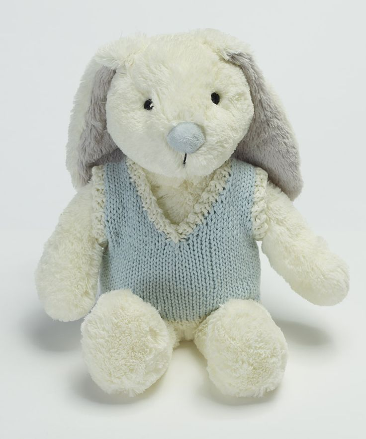 Large boy rabbit with knitted vest. - 2862 Great baby boy gift idea!