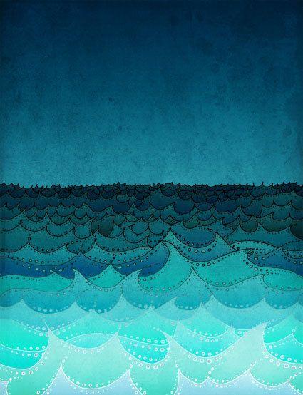 Storm in my soul  - Art illustration - Turquoise art print  - Love decor - Love, turquoise, blue, sea, water, ocean. $20,00, via Etsy.