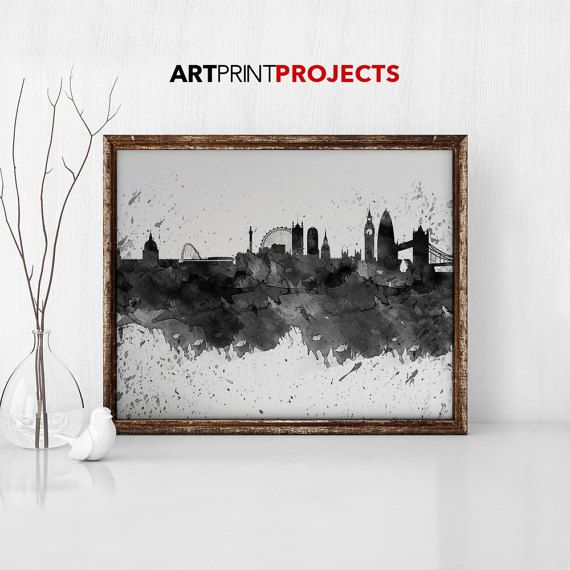 London poster black and white print watercolor Wall art