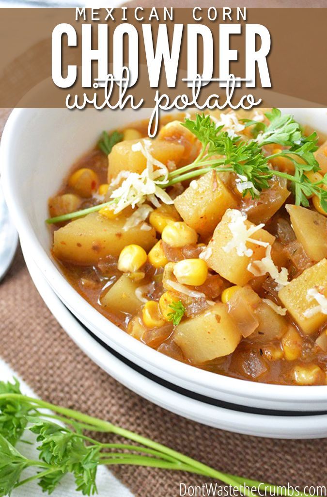 Easy Recipe:  Slow Cooker Mexican Corn and Potato Chowder.  A delicious, hearty and frugal meal that cooks while you're away.  Less than $3 for the entire pot and it's gluten-free! :: DontWastetheCrumbs.com