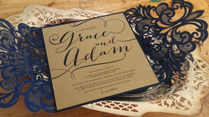 Laser cut wedding invitation by Beechtree Creative.