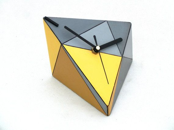 Desk Clock Geomeric / Triangle / Yellow - Grey /  free shipping on Etsy, $50.20 AUD