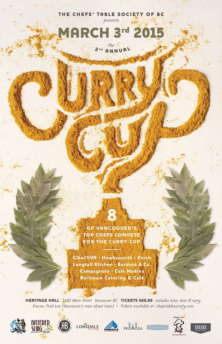 Poster design idea - spell our title on plate by writing through the food/sauces etc CHEFS TABLE SOCIETY OF BC - CURRY CUP 2015