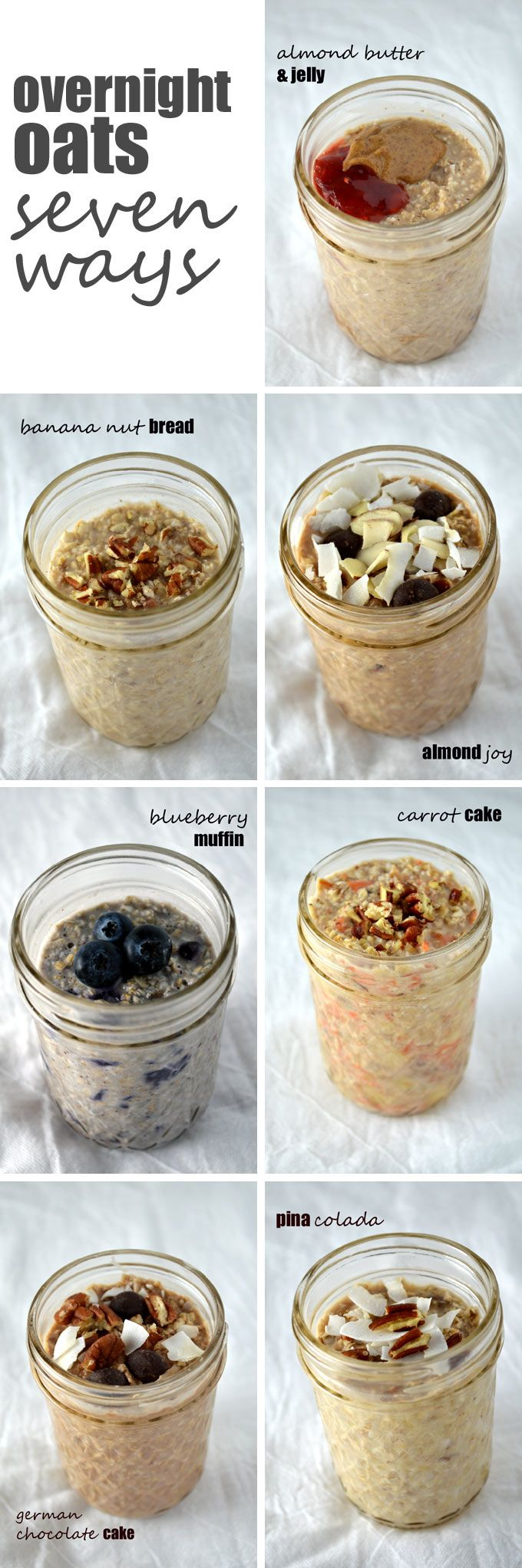 Tellement une belle idée de déjeuner à préparer la veille!! Overnight Oats Seven Ways -- a week's worth of healthy, filling breakfasts in no time!
