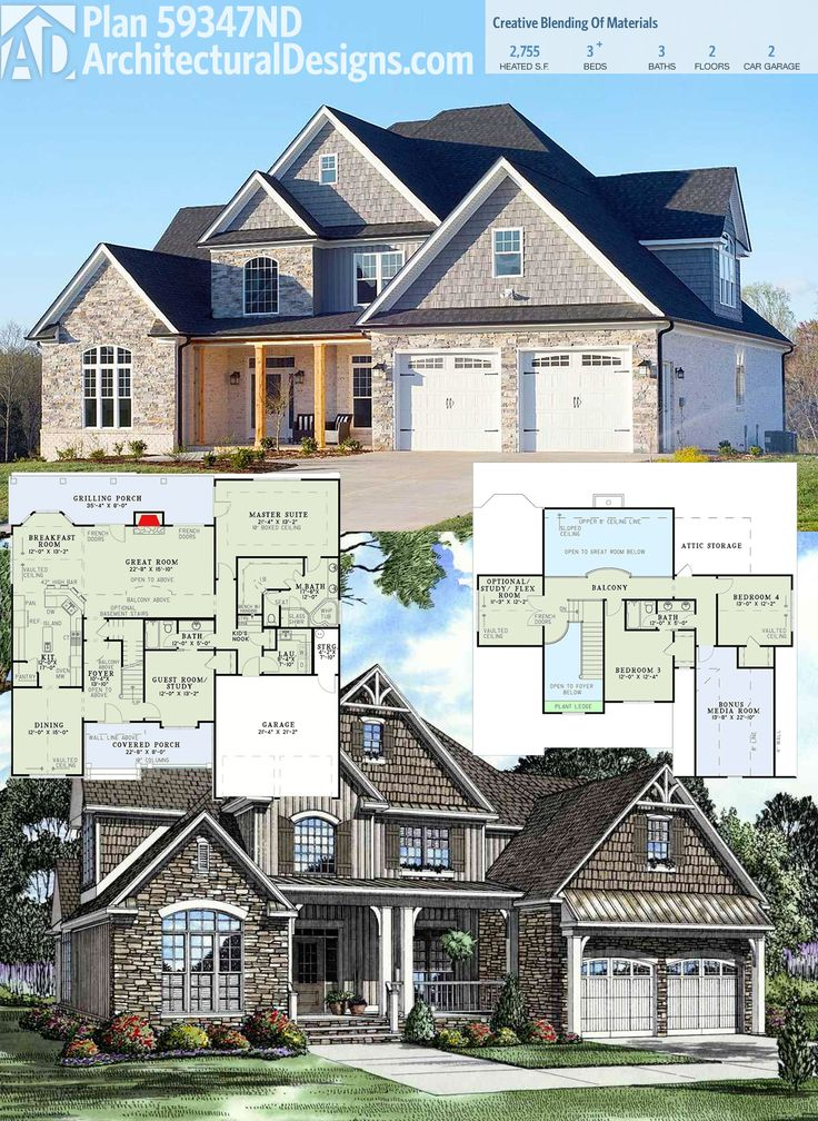 architectural designs house plan 59347nd comes to life with a stone shingle and board