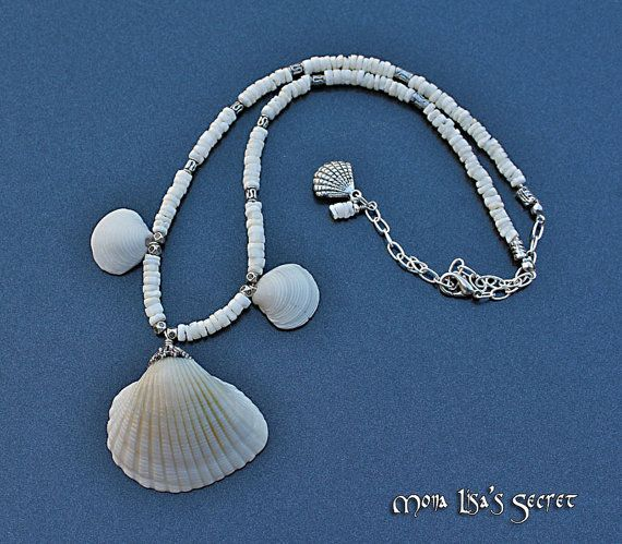 White Seashell Necklace, Natural Seashell Jewelry, Scallop ...