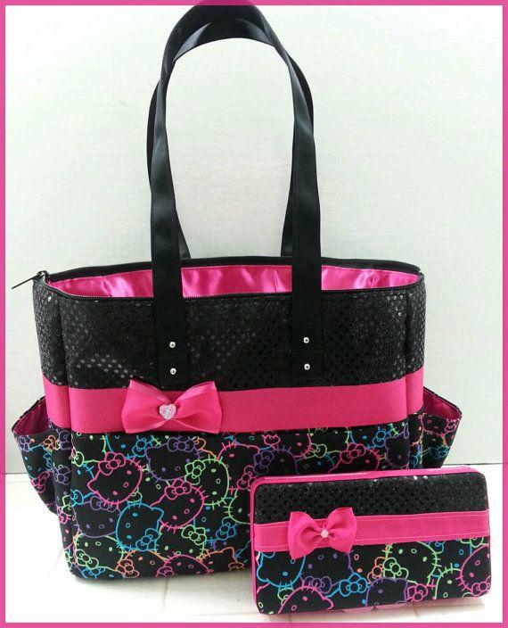 Hello Kitty diaper bag. Black sequin. Hot Pink. by BagsbyMaritza... Love love love